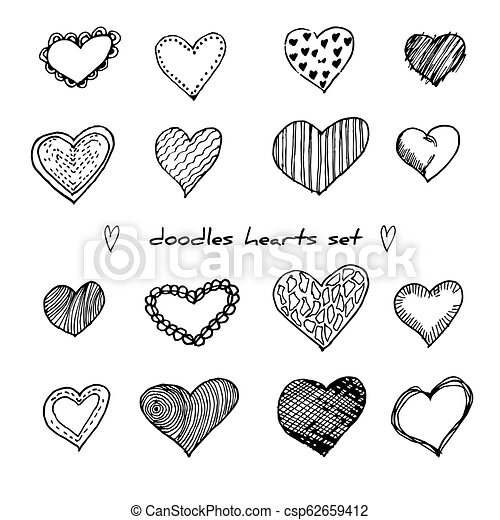 Hand-drawn doodle hearts set isolated on white. Design elements for Valentine day and wedding. Vector illustration for web site, poster, placard, wallpaper. - csp62659412