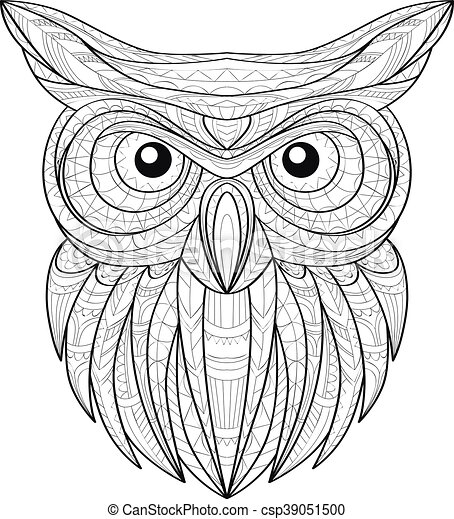 2e9881d876d82 Hand drawn doodle outline owl illustration. decorative in african indian  totem ethnic tribal aztec design. sketch for adult antistress coloring page.