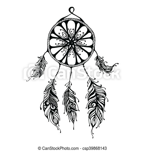 Hand Drawn Dreamcatcher Abstract Background With Feathers Ethnic Design For Card Invitation Party Presentation Greeting Boho Vector