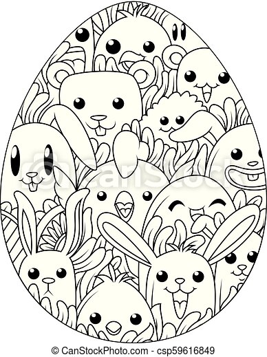 Vector illustration of hand drawn easter eggs for coloring book for ...