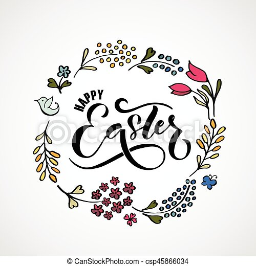 Hand Sketched Easter Text As Easter Logotype Badge And  Vectors