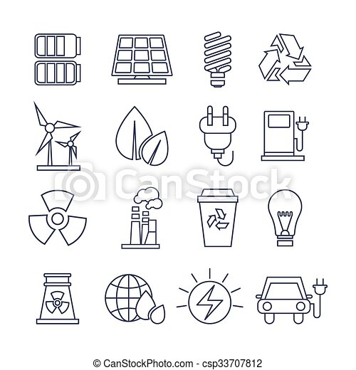 Hand Drawn Eco Energy Icons Set - csp33707812