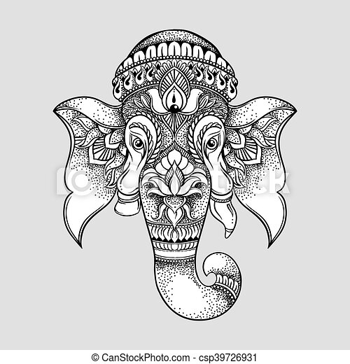Hand drawn elephant head tribal style. Hindu Lord Ganesha vector illustration. T-shirt design - csp39726931