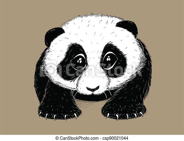 Hand-drawn EPS 8 Vector illustration of cute Panda 5 - csp90021044
