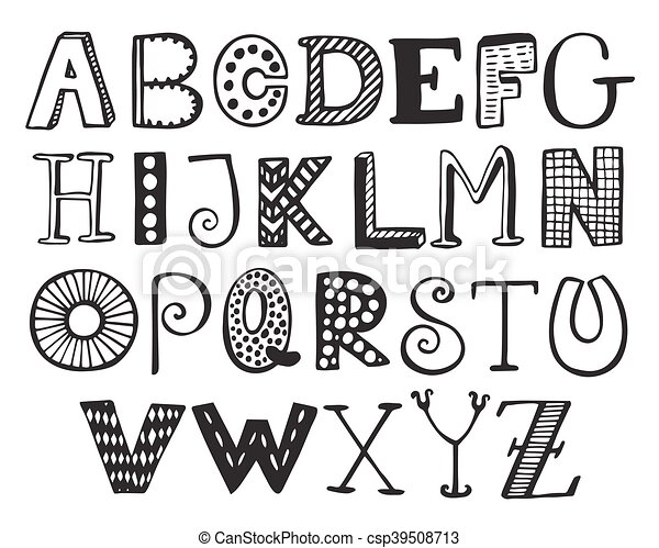 Hand Drawn Fancy Alphabet Funny Doodle Letters