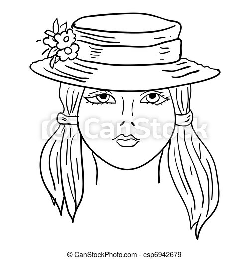 hand drawn fashion model vector illustration woman s face a hat
