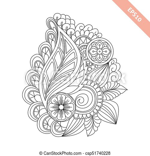 Hand drawn floral background doodle style. design for cover, bag ...