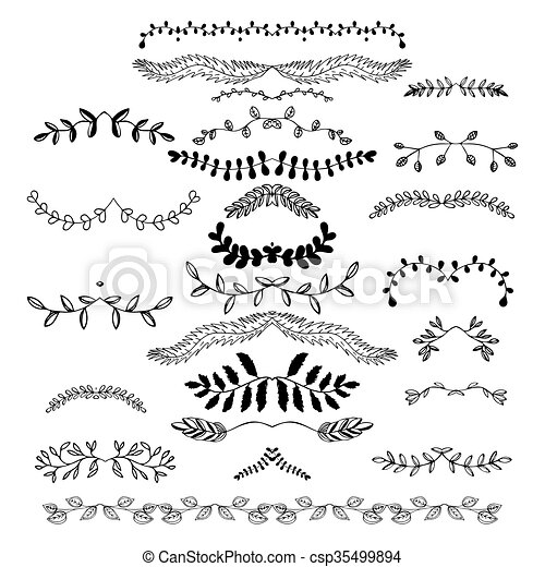 Hand Drawn Floral Borders Dingbats Dividers Wreaths For The Page