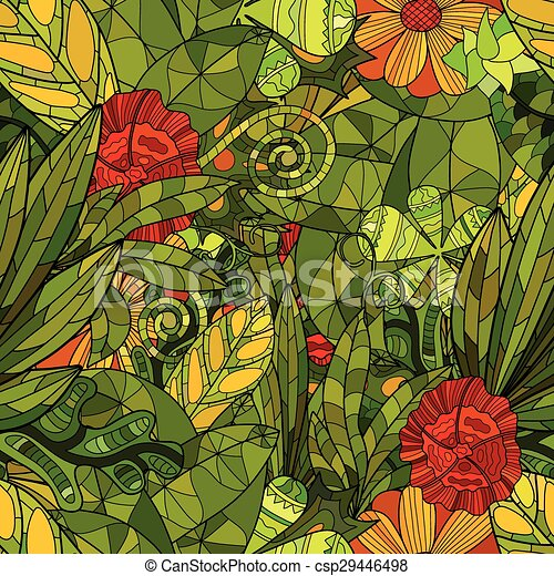 hand drawn floral seamless pattern - csp29446498