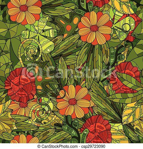 hand drawn floral seamless pattern - csp29723090