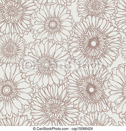 Hand drawn floral seamless pattern - csp15066424