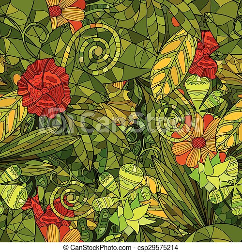 hand drawn floral seamless pattern - csp29575214