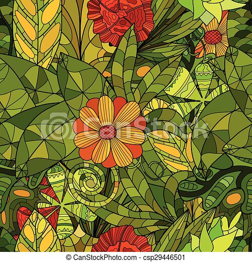 hand drawn floral seamless pattern - csp29446501