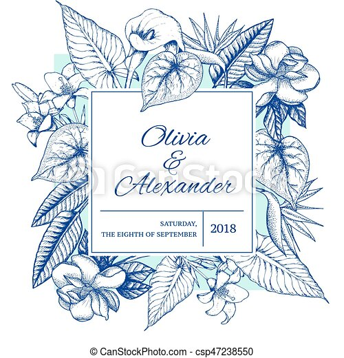 Hand drawn floral wedding invitation card. Hand drawn floral wedding ...