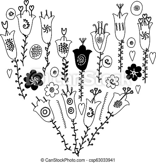 Hand Drawn Flowers And Leaves Doodle Monochrome Black And White Colors Isolated On White Background