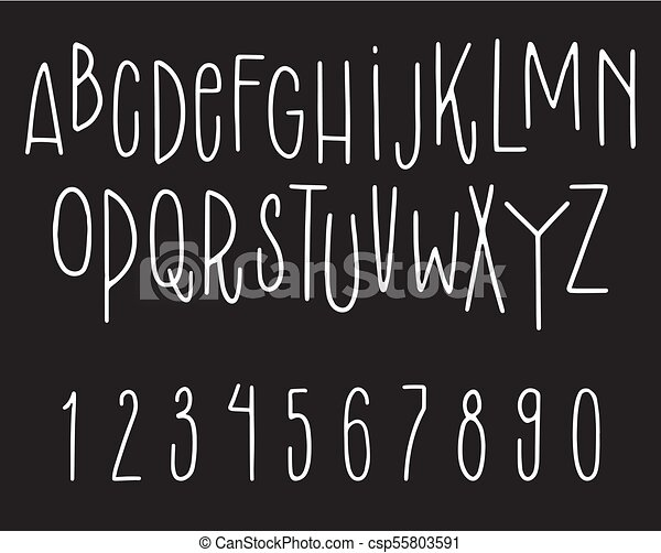 Hand Drawn Font Vector Set Of Letters And Numbers On Black Background Sketch Alphabet