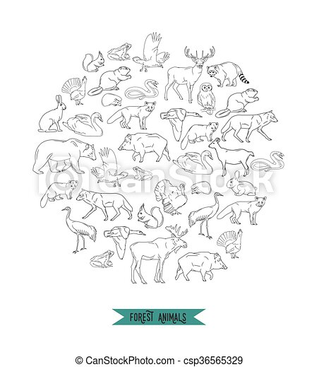 Hand drawn forest animals. Animals silhouettes vintage. Vector illustration in line art isolated - csp36565329
