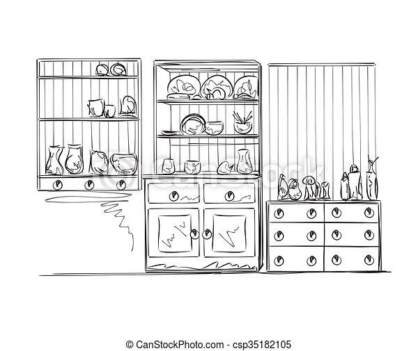 Hand Drawn Furniture Sketch   Csp35182105