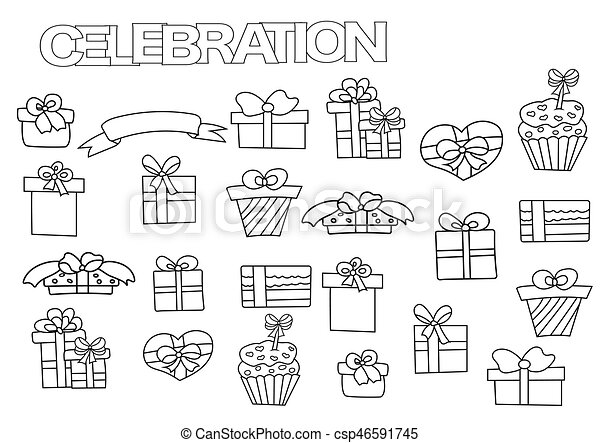 Hand drawn gift boxes set. coloring book page template with... eps ...