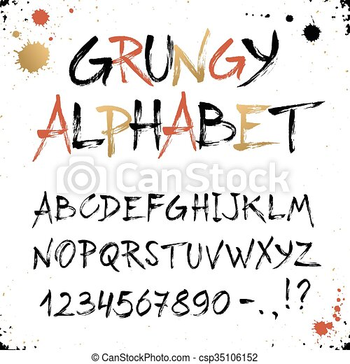 Hand Drawn Golden Alphabet Uppercase Grunge Letters And Numbers Isolated On White Background Handdrawn