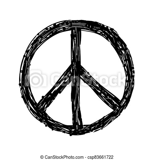 Hand drawn grunge Peace sign - csp83661722