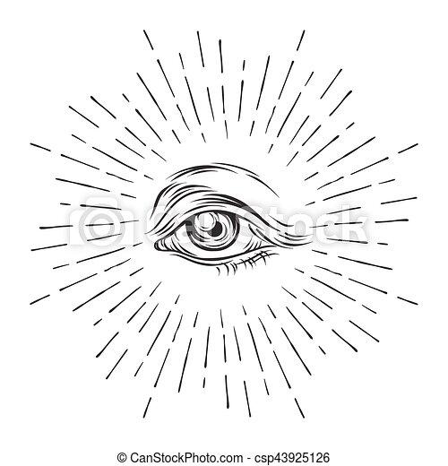 Hand-drawn grunge sketch Eye of Providence. Masonic symbol. All seeing eye. New World Order. Conspiracy theory. Alchemy, religion, spirituality, occultism vector illustration. - csp43925126