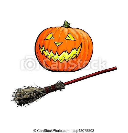 Hand drawn halloween symbols - pumpkin lantern and old twig ...