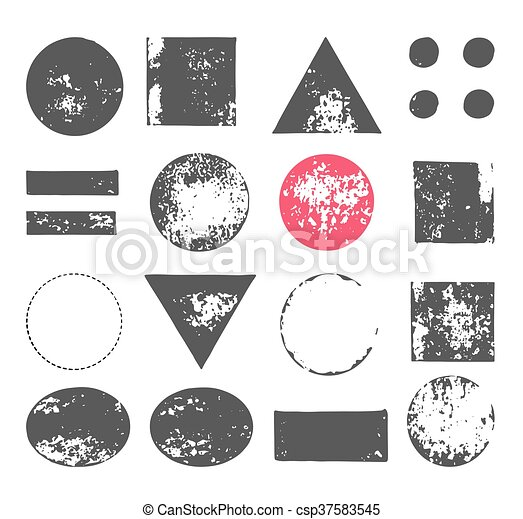 hand drawn, handcrafted, handmade stamp set and ink stains, textures, abstract shapes - csp37583545