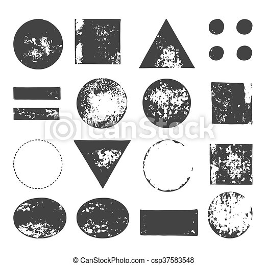 hand drawn, handcrafted, handmade stamp set and ink stains, textures, abstract shapes - csp37583548