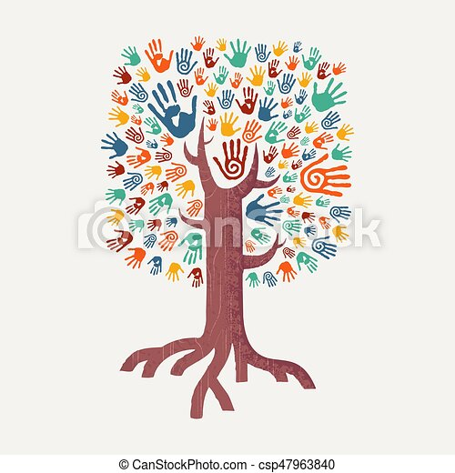 Hand drawn handprint tree for community help. Hand tree ...