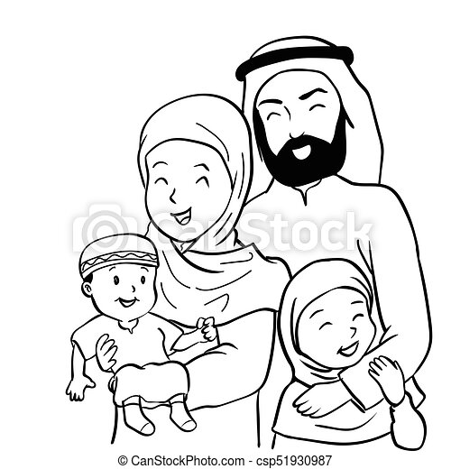 Hand Drawn Happy Muslim Family Vector Cartoon Illustration
