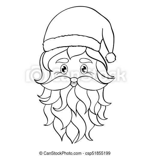 hand drawn head of santa claus on white backgroundcoloring page for children and adult vector illustration