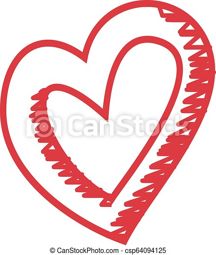 Hand Drawn Heart Happy Holiday Isolated On A White Background. Vector Sketch Style Illustration. - csp64094125
