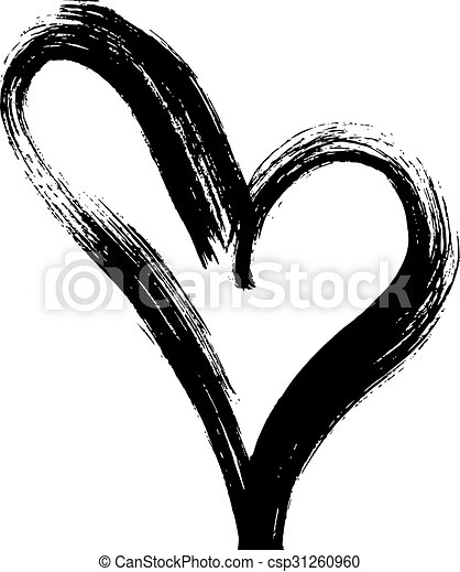 Hand Drawn Heart Ink Calligraphy Hand Drawn Art Vector Heart Ink