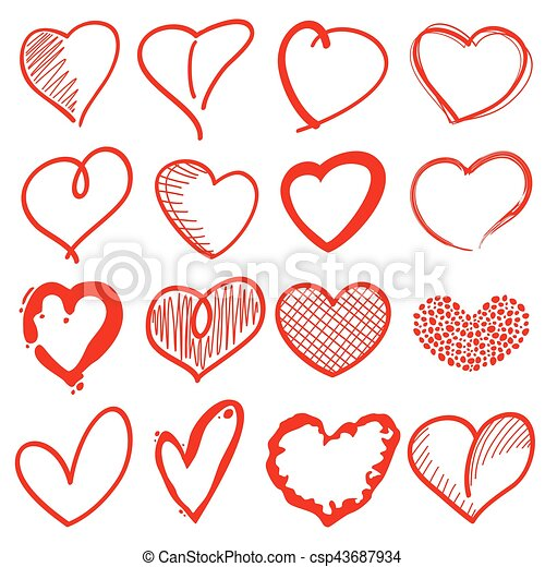 hand drawn heart shapes romance love doodle vector signs for