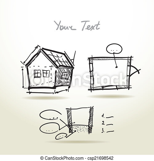 Hand drawn house plan sketch project for your design and eps