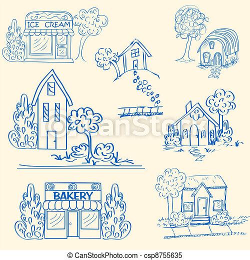 Hand Drawn Houses Icon Set - csp8755635