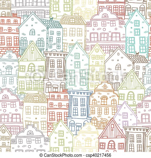 Hand Drawn Houses Seamless Pattern - csp40217456