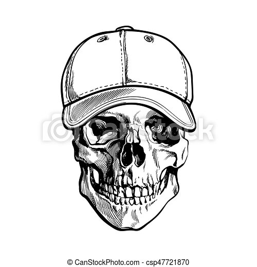 hand drawn human skull wearing black and white unlabelled baseball cap sketch vector illustration isolated on white background realistic hand drawing of