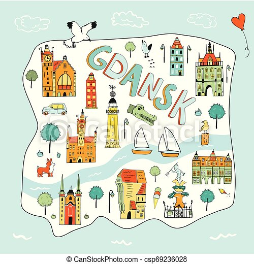 Hand Drawn Illustrated Map Of Gdansk Poland Hand Drawn