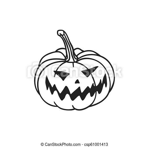 Hand Drawn Illustration Jack O Lantern Creative Ink Art Work