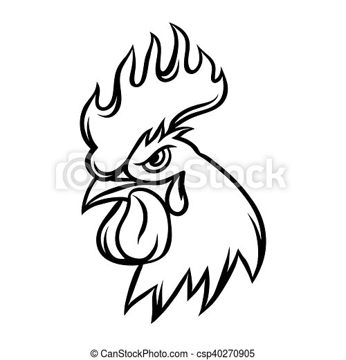 hand drawn illustration of black rooster on white background