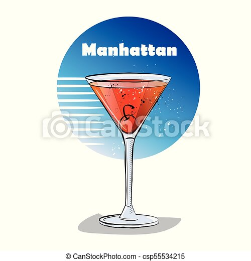 Hand Drawn Illustration Of Cocktail Manhattan Vector Illustration Canstock