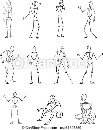 Hand Drawn Illustration Of Different Human Body Positions Hand Drawn Vector Digital Illustration Or Drawing Of Different