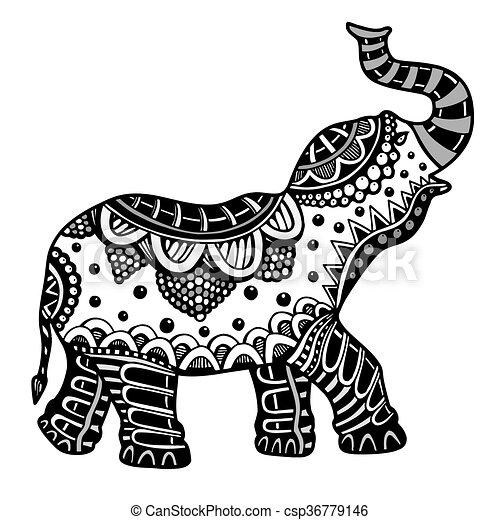 Hand drawn Indian elephant.  - csp36779146