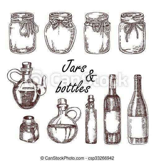 Hand Drawn Jars And Bottles Vector Illustration In Sketch Style Vintage For Wine Olive