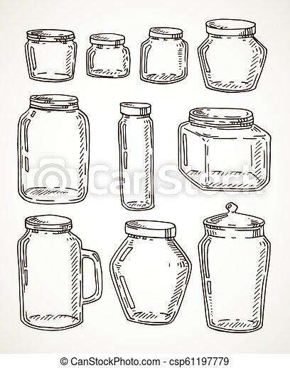 Hand drawn jars set - csp61197779