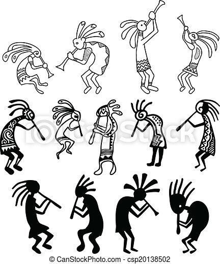 Hand drawn Kokopelli vectors - csp20138502