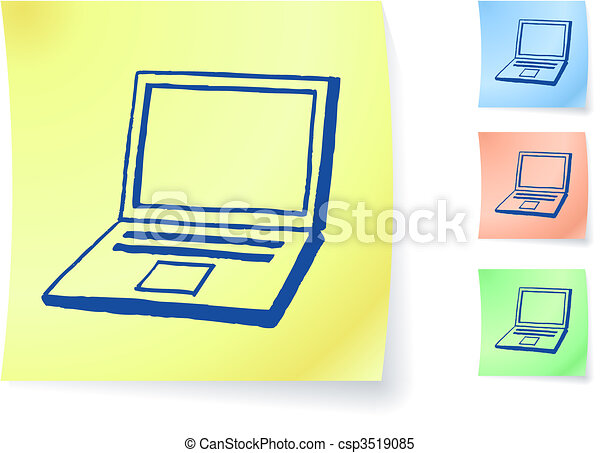 Hand-drawn laptop computer on sticky note - csp3519085