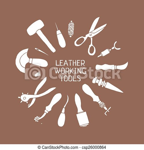 Hand Drawn Leather Craft Tools Vector Illustration Set Of Hand